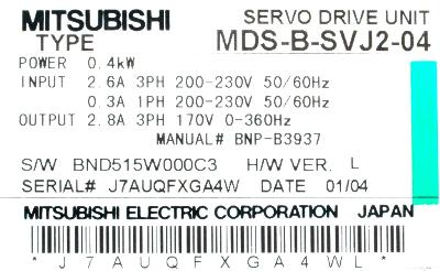 New Refurbished Exchange Repair  Mitsubishi Drives-AC Servo MDS-B-SVJ2-04 Precision Zone