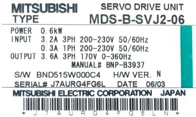 New Refurbished Exchange Repair  Mitsubishi Drives-AC Servo MDS-B-SVJ2-06 Precision Zone