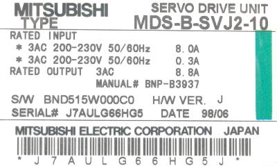 New Refurbished Exchange Repair  Mitsubishi Drives-AC Servo MDS-B-SVJ2-10 Precision Zone