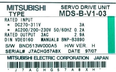 New Refurbished Exchange Repair  Mitsubishi Drives-AC Servo MDS-B-V1-03 Precision Zone
