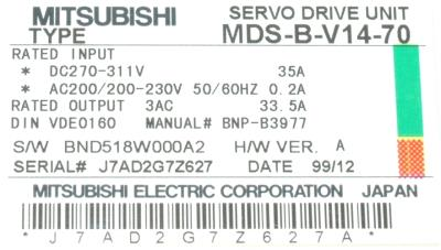 New Refurbished Exchange Repair  Mitsubishi Drives-AC Servo MDS-B-V14-70 Precision Zone