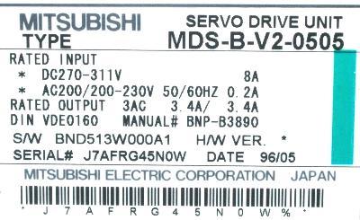 New Refurbished Exchange Repair  Mitsubishi Drives-AC Servo MDS-B-V2-0505 Precision Zone