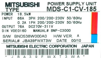 New Refurbished Exchange Repair  Mitsubishi Drives-AC Spindle MDS-C1-SP-185 Precision Zone