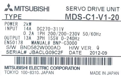 New Refurbished Exchange Repair  Mitsubishi Drives-AC Servo MDS-C1-V1-20 Precision Zone