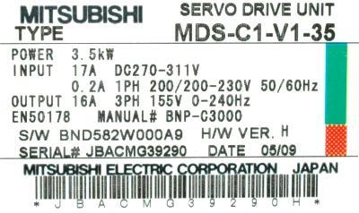 New Refurbished Exchange Repair  Mitsubishi Drives-AC Servo MDS-C1-V1-35 Precision Zone