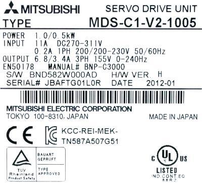 New Refurbished Exchange Repair  Mitsubishi Drives-AC Servo MDS-C1-V2-1005 Precision Zone