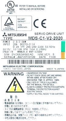 New Refurbished Exchange Repair  Mitsubishi Drives-AC Servo MDS-C1-V2-2020 Precision Zone