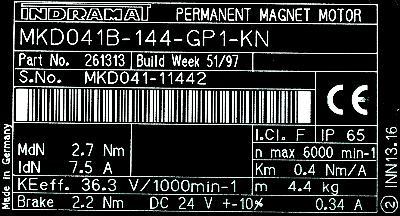 New Refurbished Exchange Repair  INDRAMAT Motors-AC Servo MKD041B-144-GP1-KN Precision Zone