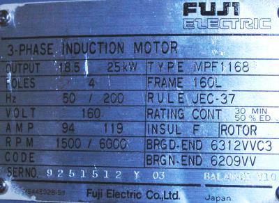 New Refurbished Exchange Repair  Fuji Motors-AC Spindle MPF1168G Precision Zone