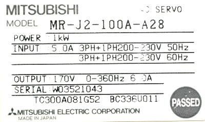 New Refurbished Exchange Repair  Mitsubishi Drives-AC Servo MR-J2-100A-A28 Precision Zone