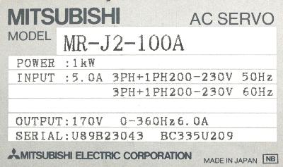 New Refurbished Exchange Repair  Mitsubishi Drives-AC Servo MR-J2-100A Precision Zone