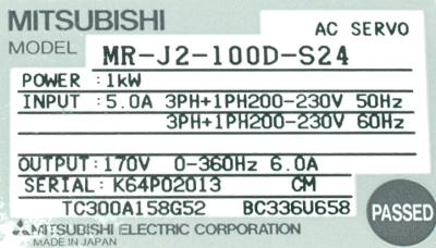 New Refurbished Exchange Repair  Mitsubishi Drives-AC Servo MR-J2-100D-S24 Precision Zone