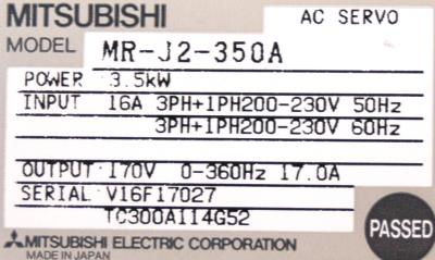 New Refurbished Exchange Repair  Mitsubishi Drives-AC Servo MR-J2-350A Precision Zone
