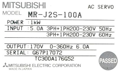 New Refurbished Exchange Repair  Mitsubishi Drives-AC Servo MR-J2S-100A Precision Zone