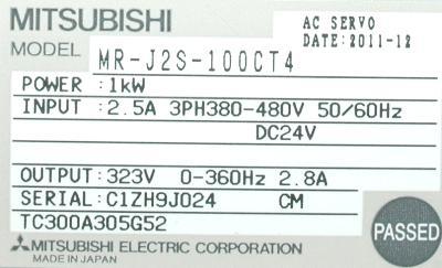 New Refurbished Exchange Repair  Mitsubishi Drives-AC Servo MR-J2S-100CT4 Precision Zone