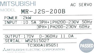 New Refurbished Exchange Repair  Mitsubishi Drives-AC Servo MR-J2S-200B Precision Zone