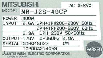 New Refurbished Exchange Repair  Mitsubishi Drives-AC Servo MR-J2S-40CP Precision Zone
