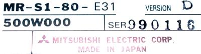 New Refurbished Exchange Repair  Mitsubishi Drives-AC Servo MR-S1-80-E31 Precision Zone