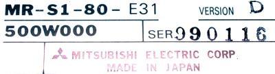 New Refurbished Exchange Repair  Mitsubishi Drives-AC Servo MR-S1-80-E31 Precision Zone