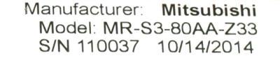 New Refurbished Exchange Repair  Mitsubishi Drives-AC Servo MR-S3-80AA-Z33 Precision Zone
