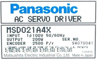 New Refurbished Exchange Repair  Panasonic Drives-AC Servo MSD021A4X Precision Zone