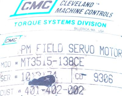 New Refurbished Exchange Repair  CMC CLEVELAND MOTION Motors-DC Servo MT3515-138CE Precision Zone