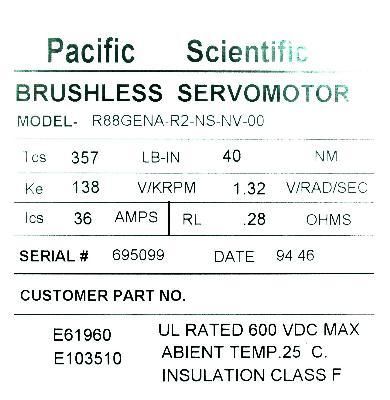 New Refurbished Exchange Repair  Pacific Scientific Motors-AC Servo R88GENA-R2-NS-NV-00 Precision Zone