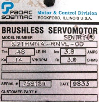 New Refurbished Exchange Repair  Pacific Scientific Motors-AC Servo S21HMNA-RNVL-00 Precision Zone