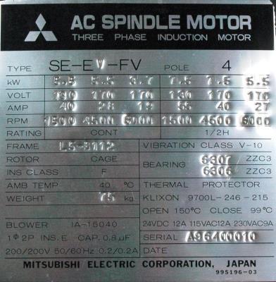 New Refurbished Exchange Repair  Mitsubishi Motors-AC Spindle SE-EV-FV-5.5 Precision Zone