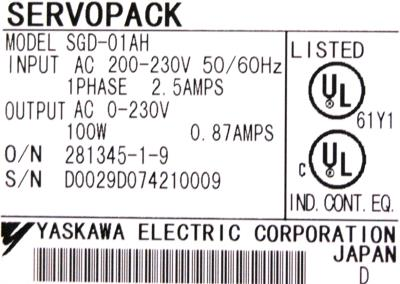 New Refurbished Exchange Repair  Yaskawa Drives-AC Servo SGD-01AH Precision Zone