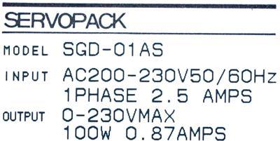New Refurbished Exchange Repair  Yaskawa Drives-AC Servo SGD-01AS Precision Zone