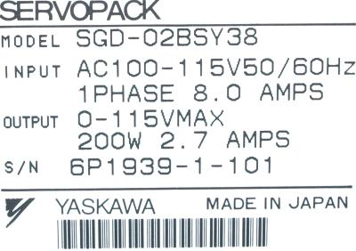 New Refurbished Exchange Repair  Yaskawa Drives-AC Servo SGD-02BS-Y38 Precision Zone