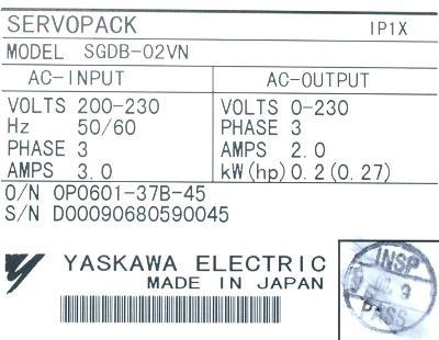 New Refurbished Exchange Repair  Yaskawa Drives-AC Servo SGDB-02VN Precision Zone