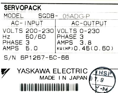 New Refurbished Exchange Repair  Yaskawa Drives-AC Servo SGDB-05ADG-P Precision Zone