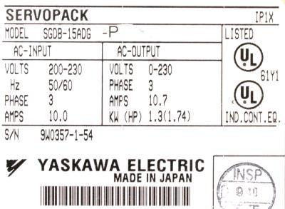 New Refurbished Exchange Repair  Yaskawa Drives-AC Servo SGDB-15ADG-P Precision Zone