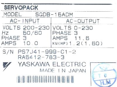 New Refurbished Exchange Repair  Yaskawa Drives-AC Servo SGDB-15ADM Precision Zone