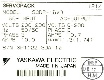 New Refurbished Exchange Repair  Yaskawa Drives-AC Servo SGDB-15VD Precision Zone