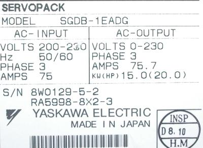 New Refurbished Exchange Repair  Yaskawa Drives-AC Servo SGDB-1EADG Precision Zone