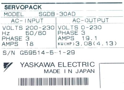 New Refurbished Exchange Repair  Yaskawa Drives-AC Servo SGDB-30AD Precision Zone