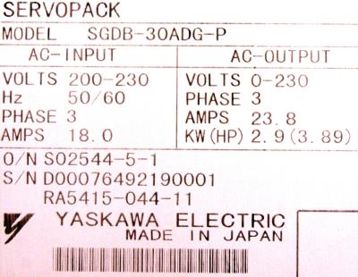 New Refurbished Exchange Repair  Yaskawa Drives-AC Servo SGDB-30ADG-P Precision Zone