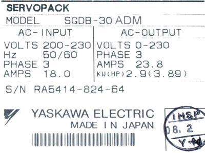 New Refurbished Exchange Repair  Yaskawa Drives-AC Servo SGDB-30ADM Precision Zone