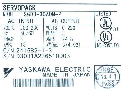 New Refurbished Exchange Repair  Yaskawa Drives-AC Servo SGDB-30ADM-P Precision Zone