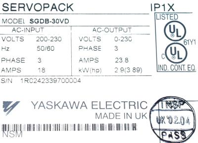 New Refurbished Exchange Repair  Yaskawa Drives-AC Servo SGDB-30VD Precision Zone