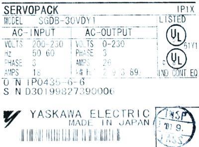 New Refurbished Exchange Repair  Yaskawa Drives-AC Servo SGDB-30VD-Y1 Precision Zone