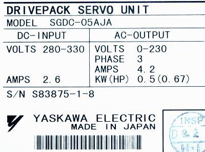 New Refurbished Exchange Repair  Yaskawa Drives-AC Servo SGDC-05AJA Precision Zone
