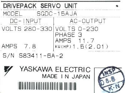 New Refurbished Exchange Repair  Yaskawa Drives-AC Servo SGDC-15AJA Precision Zone