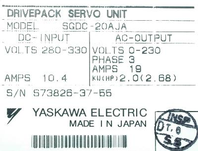 New Refurbished Exchange Repair  Yaskawa Drives-AC Servo SGDC-20AJA Precision Zone