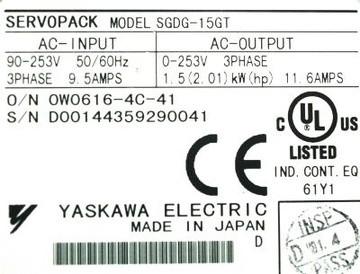 New Refurbished Exchange Repair  Yaskawa Drives-AC Servo SGDG-15GT Precision Zone