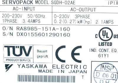 New Refurbished Exchange Repair  Yaskawa Drives-AC Servo SGDH-02AE Precision Zone