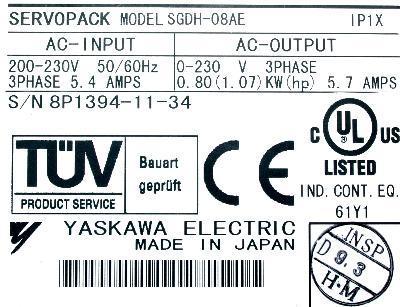 New Refurbished Exchange Repair  Yaskawa Drives-AC Servo SGDH-08AE Precision Zone